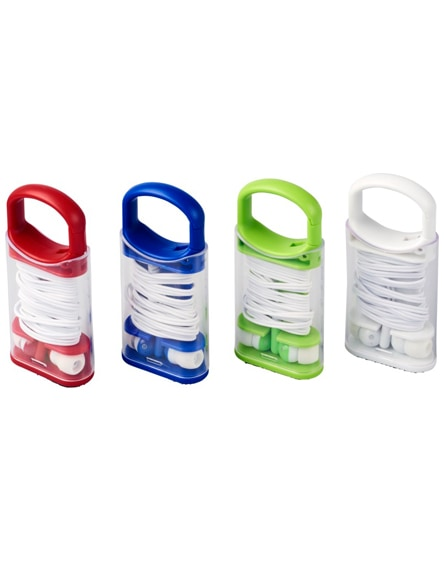 branded snap earbuds with plastic carabiner clip case