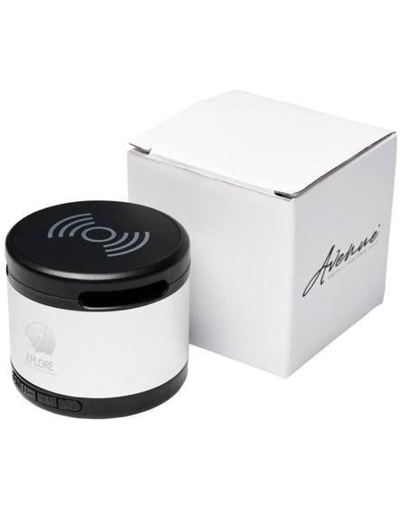 branded jones metal bluetooth speaker with wireless charging pad
