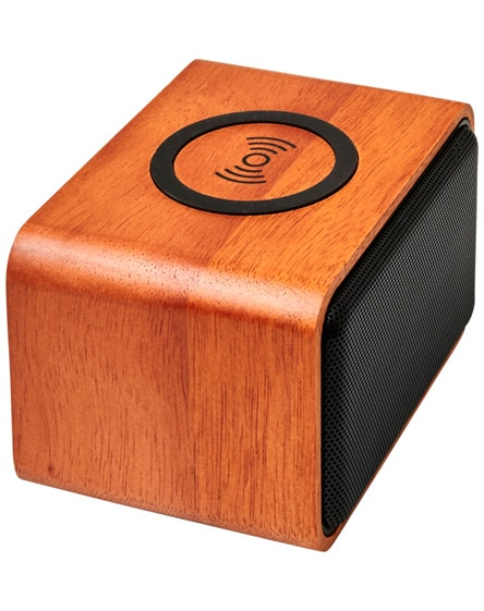 branded wooden speaker with wireless charging pad