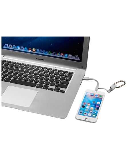 branded fold 3-in-1 charging cable with carabiner