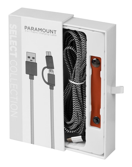 branded paramount 3-in-1 fabric charging cable