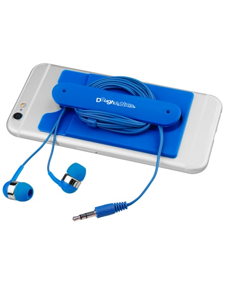 branded wired earbuds and silicone phone wallet