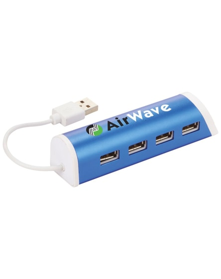 branded power 4-port usb hub and smartphone stand