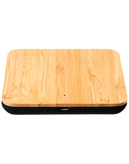 branded leaf bamboo and fabric wireless charging pad