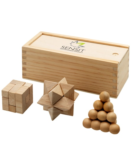 branded brainiac 3-piece wooden brain teaser set