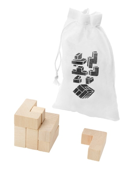 branded solfee wooden squares brain teaser with pouch