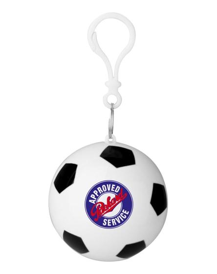 branded xina rain poncho in storage football with keychain