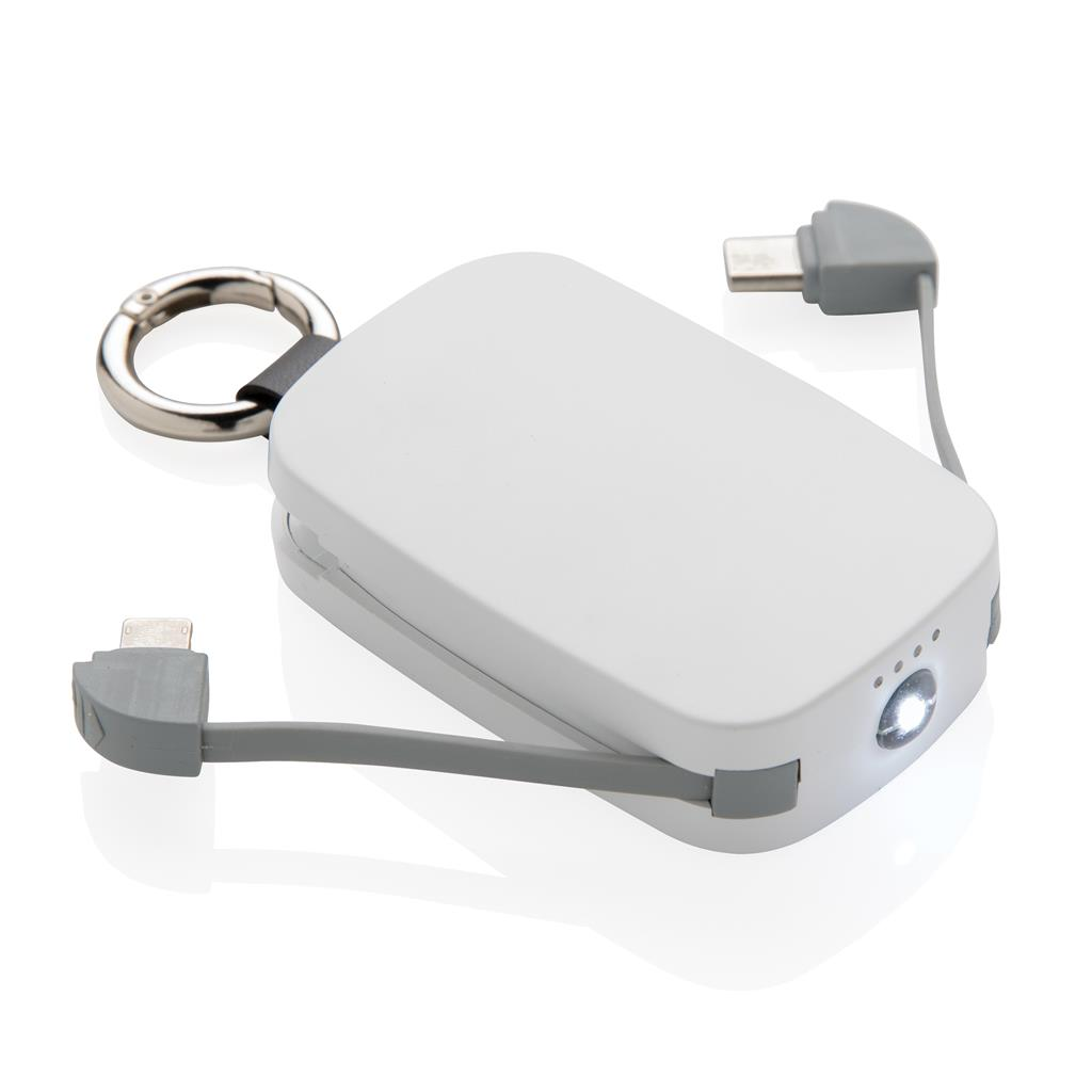 1200mah Keychain Powerbank With Integrated Cables