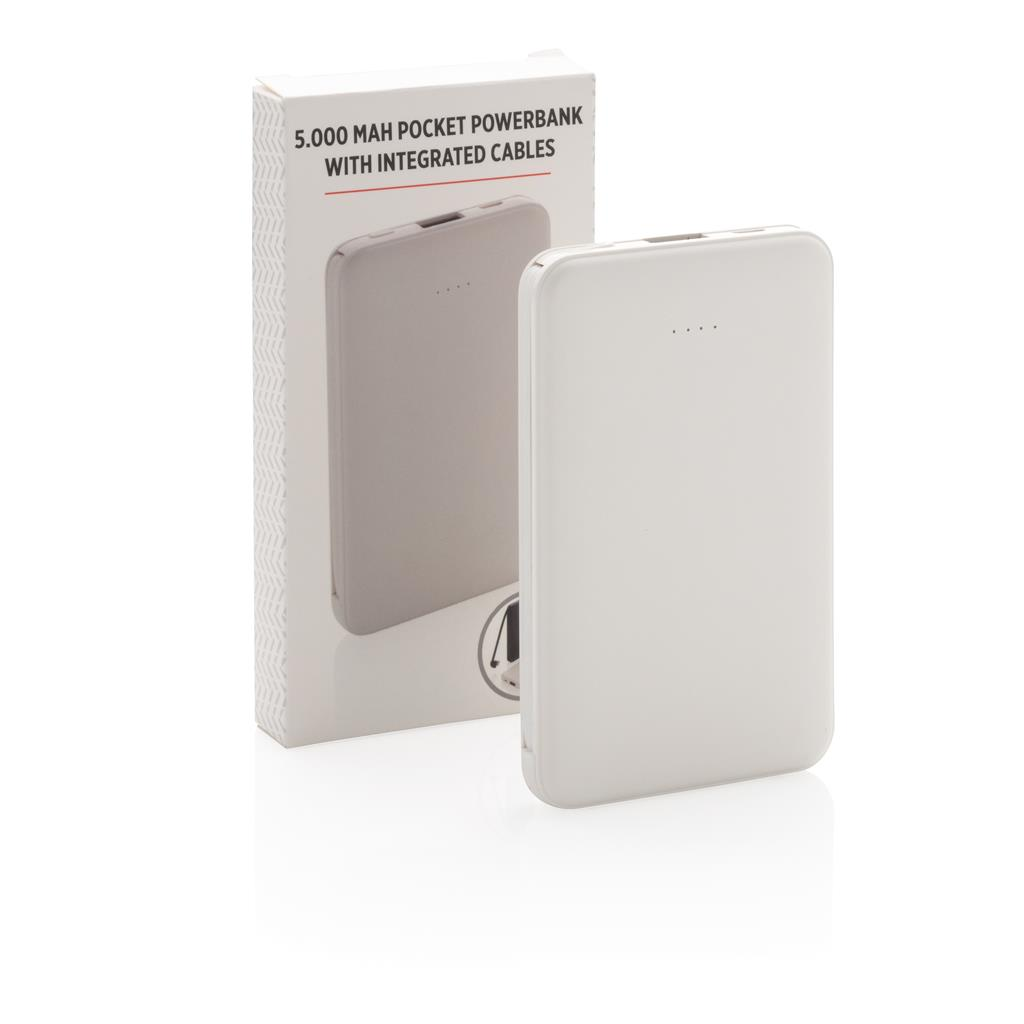 5000mah Pocket Powerbank With Integrated Cables