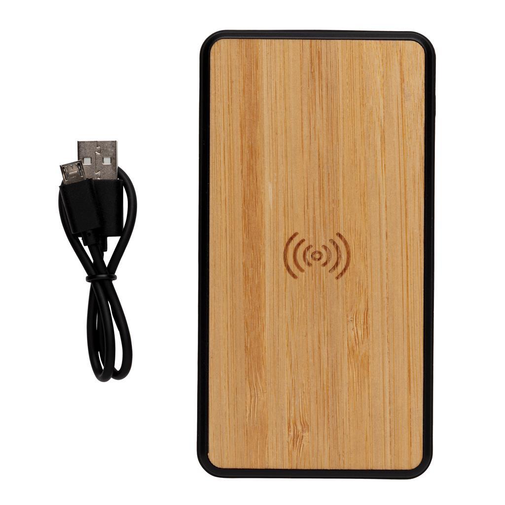Bamboo 8000mah Wireless Charging Fashion Powerbank