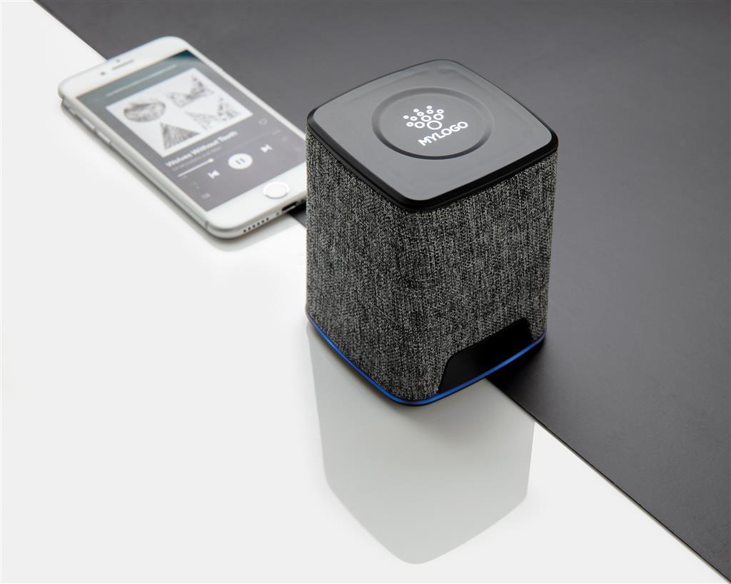 Engraved Sample Light Up Logo Fabric 3W Wireless Speaker