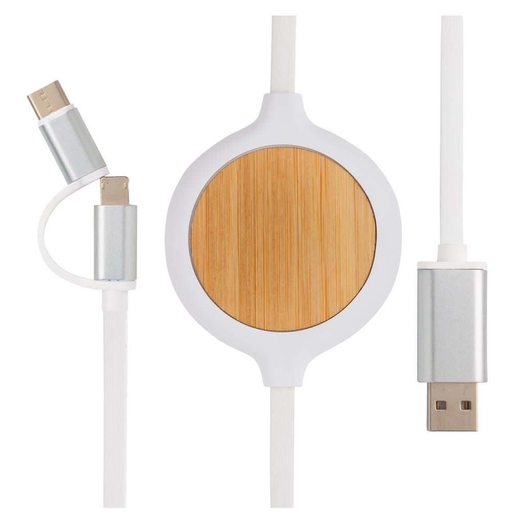 3 In 1 Cable With 5W Bamboo Wireless Charger