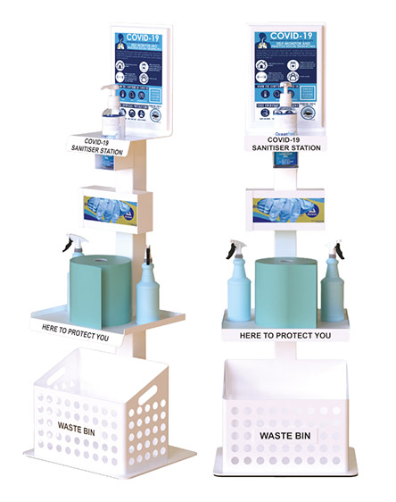 covid-19 sanitiser and cleaning station