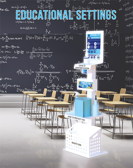 Covid-19 Anti-Virus Gel Sanitisation Stand Points Educational Settings Premium