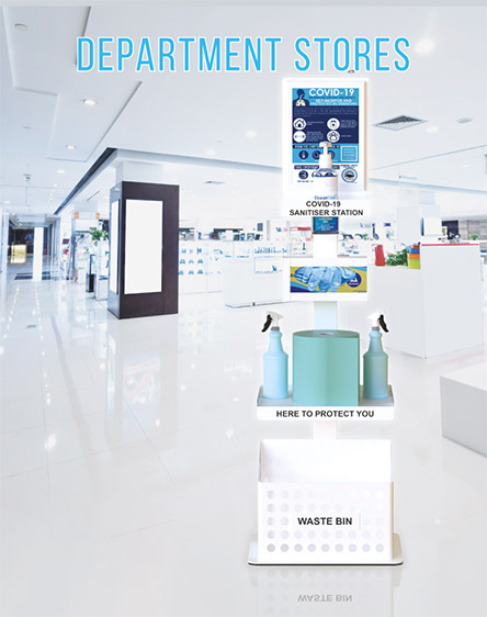 Covid-19 Anti-Virus Gel Sanitisation Stand Points Premium for Department Stores and Retail