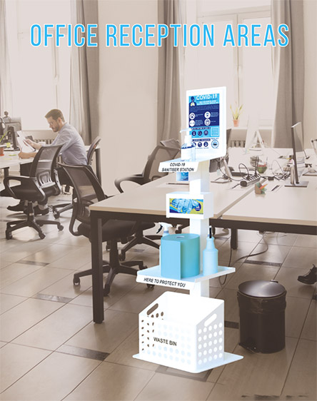 Covid-19 Anti-Virus Gel Sanitisation Stand Points Premium for Offices and Businesses