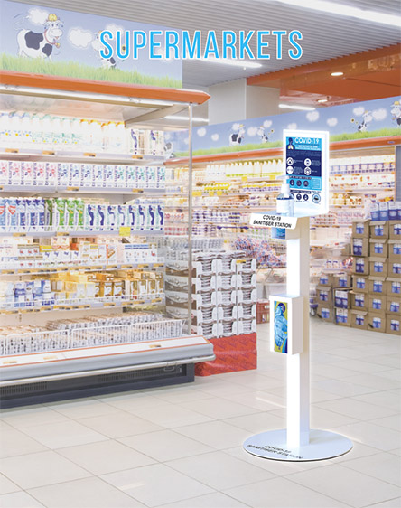 Covid-19 Anti-Virus Gel Sanitisation Stand Points for Supermarkets and Retail