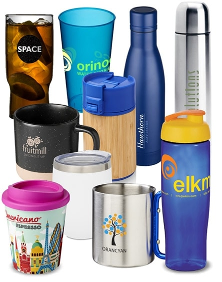 branded mugs and bottles