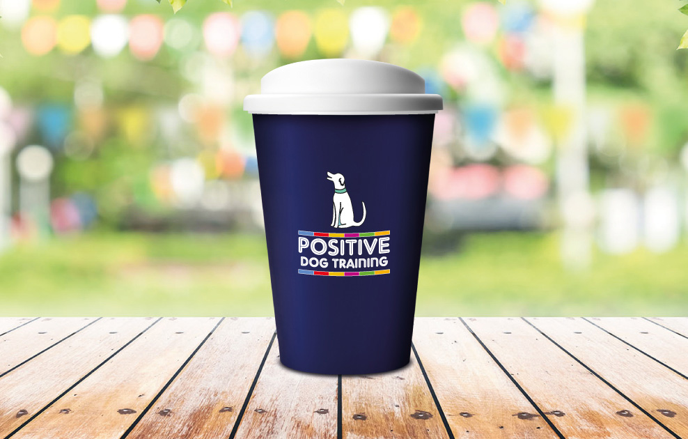 positive dog training branded reusable coffee cups by universal mugs